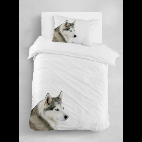DOGGY Egyszemélyes  ágyneműhuzat fehér alapon husky kutya mintával 140*200 cm + 70*90 cm párnahuzat