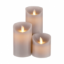 Kép 2/3 - GLOWING FLAME LED szürke gyertya szett 3db